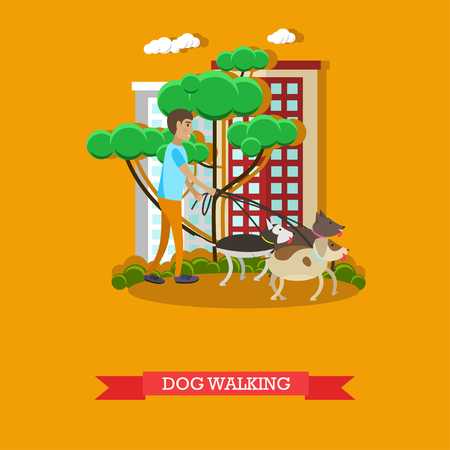 voluntary: Vector illustration of volunteer man walking dogs in the park, in the street. Voluntary organizations services concept design element in flat style.