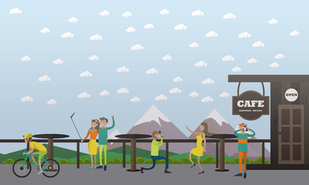 Vector illustration of photographers taking photo of woman and nature, couple taking selfie in cafe on the mountain. Photo concept design element in flat style Illustration