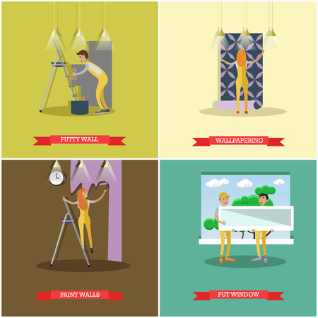 house painter: Vector set of construction and repairing house concept posters, banners. Putty wall, wallpapering, Painting and Put window design elements in flat style.