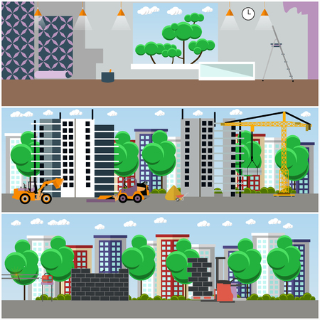 Vector set of construction interior concept posters, banners. Construction site and machinery, repairing house interior design elements in flat style.