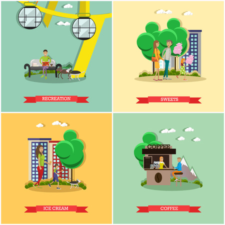 candy floss: Vector set of amusement park concept posters, banners. Recreation, Sweets, Ice cream, Coffee design elements in flat style. Illustration