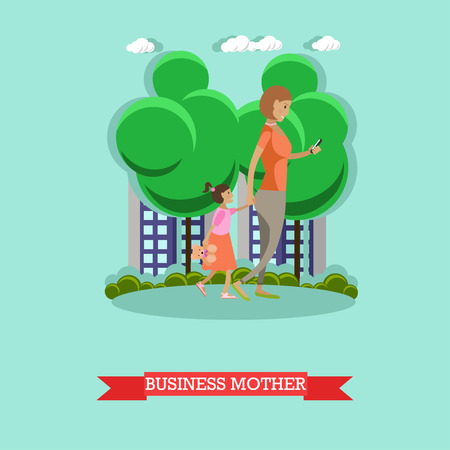 Vector illustration of mother walking in the park with her daughter. Woman making use of cell phone or smart phone. Business mother and modern gadgets concept design element in flat style.