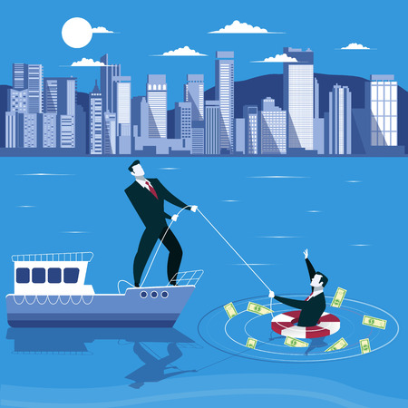 Businessman is drowning and ask for help from his partner. Business failure concept vector illustration