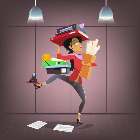 vector personaje de negocios femenino en estilo de dibujos animados. ocupado oficina ocupado oficina secretaria de secretaria o personal de guardia personal