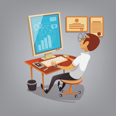 sales manager: Man busy working with computer in office. Business concept vector illustration in cartoon style. Manager makes sales report Illustration