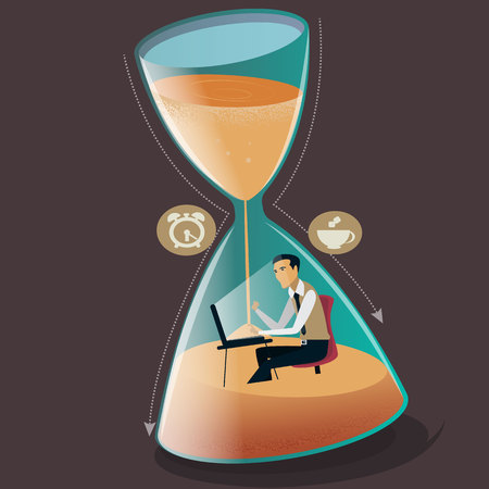 Time managment concept vector illustration. Businessman is sinking in hourglass. Project deadline