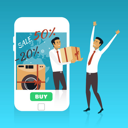 Online shopping on internet using mobile smartphone. Fast delivery concept vector illustration in flat style design.