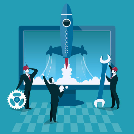 launcher: Business start up concept vector illustration. Rocket launch and computer on background. Businessman start new company