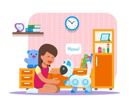 Girl playing with home cat robot. Robotics technology concept vector illustration