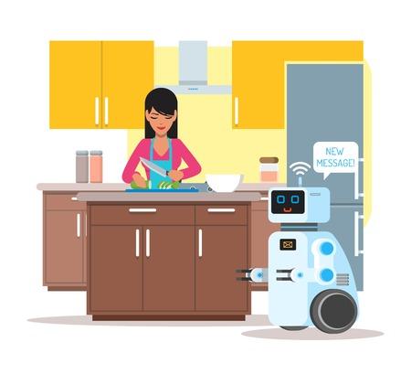 aide à la personne: Domestic personal assistance robot helps his owner at home. Robotics technology concept vector illustration
