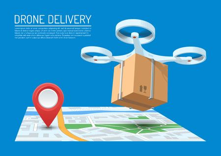 Drone delivery concept vector illustration. Quadcopter flying over a map and carrying a package Illustration