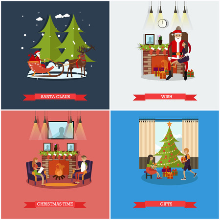 mantel: Vector set of Christmas, New Years Eve celebration concept posters
