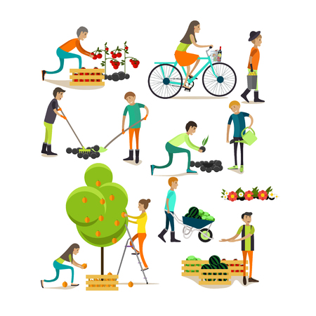 Vector set of garden people characters, icons in flat style