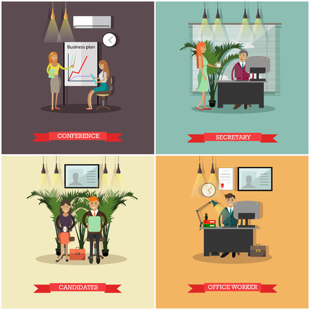 personal assistant: Vector set of business people concept posters, banners, flat style.