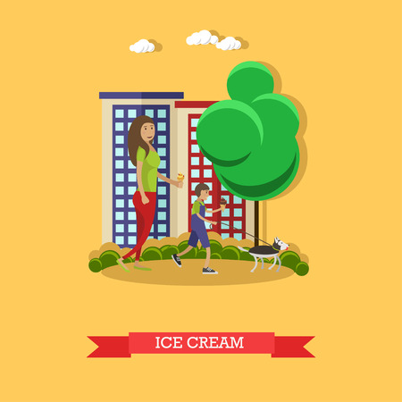 Vector illustration of mother, son eating ice cream, flat style Illustration