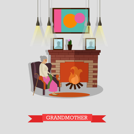 mantel: Vector illustration of grandmother sitting in armchair at the fireplace.