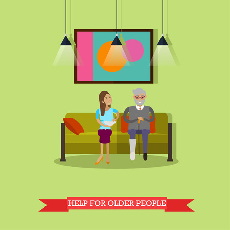 social work aged care: Vector illustration of volunteer helping older man with food.
