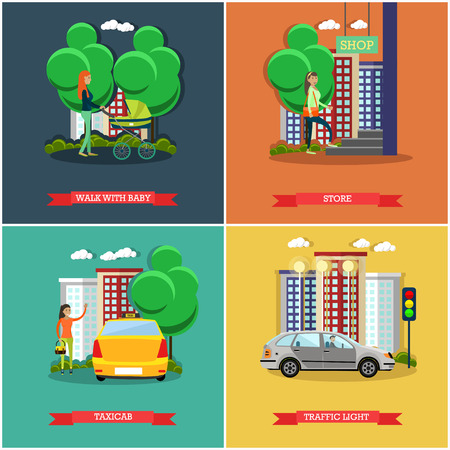 catching taxi: Vector set of street traffic concept posters, banners, flat design Illustration