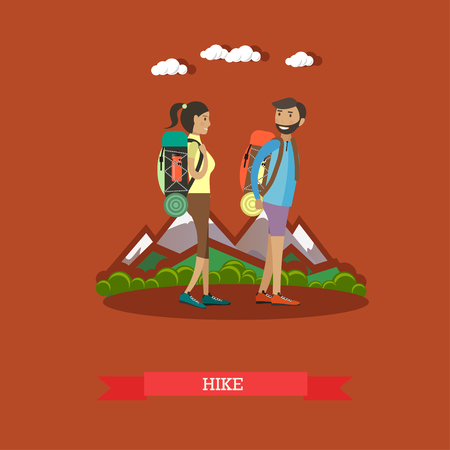 Vector illustration of hikers man and woman carrying their belongings on backs. Hiking, summer outdoor activities concept design element in flat style. Illustration