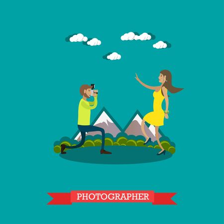 Vector illustration of photographer taking photo of young woman. Camera operator, correspondent character in flat design.
