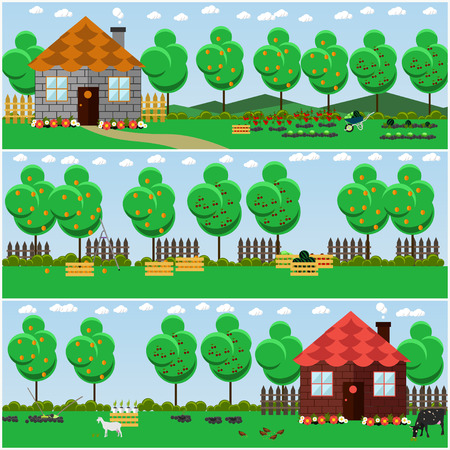 Vector set of countryside, rural scene backgrounds, posters, banners in flat style. Fruit and vegetable garden, country house, cottage, domestic animals.