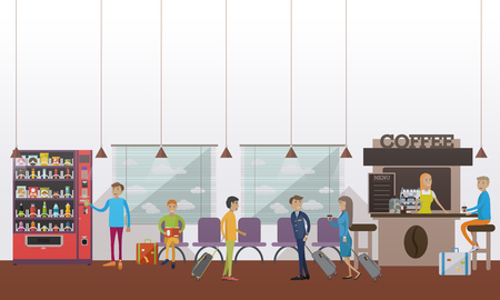 Vector illustration of airport waiting hall, cafe, passengers, pilot, stewardess. Travel by plane concept design element in flat style.