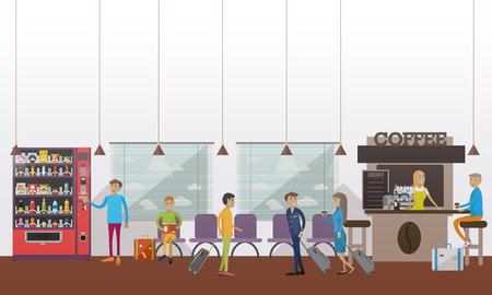 Ilustración del vector del aeropuerto de sala de espera, cafetería, pasajeros, piloto, azafata. Viaje por concepto de avión elemento de diseño en estilo plano.