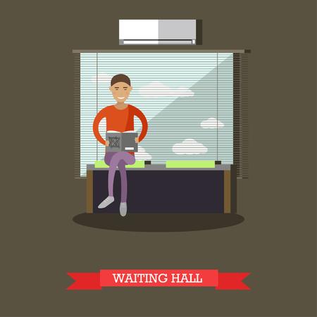 debet: Banking concept vector illustration. Waiting hall, customer reading a book, flat style design. Illustration