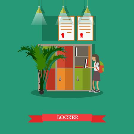 Vector illustration of school locker. Schoolgirl standing near the locker with opened door. School education concept design element in flat style.