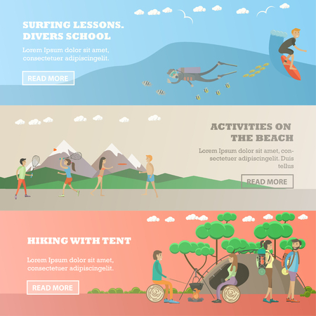 school activities: Vector set of water sports, summer outdoor activity concept horizontal banners. Surfing lessons, divers school, Activities on the beach, Hiking with tent design elements in flat style.