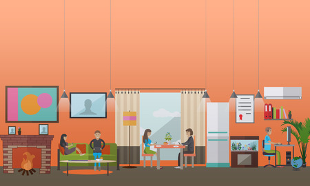 Vector illustration of people making use of various gadgets at home. Young men and women using smartphones, computer and laptop. Modern gadgets concept design element in flat style.