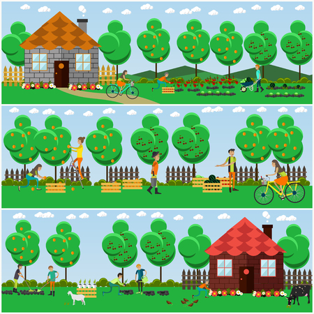 Vector set of gardening concept posters, banners in flat style. Gardeners planting, harvesting, selling fruit and vegetables.