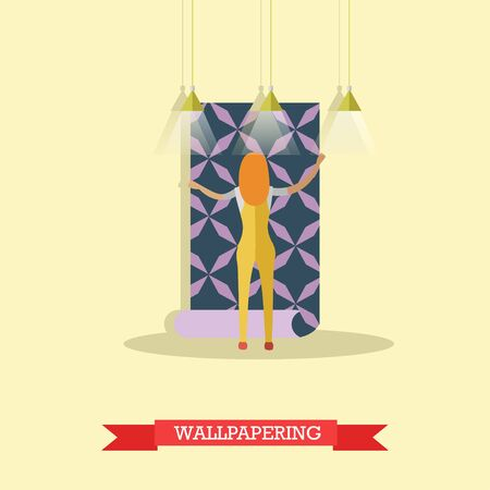 papering: Vector illustration of woman papering wall. Repairing a house, wallpapering concept vector illustration in flat style.