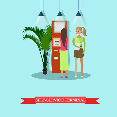 Vector illustration of people carrying out operations with self-service terminal. Banking and technology concept design element in flat style Illustration
