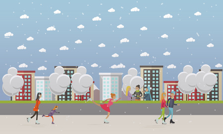 Vector illustration of people skating at ice rink. Cartoon characters, cityscape. Winter sports and activities concept design element in flat style.