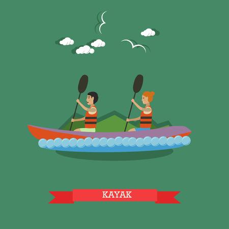 Kayaking concept vector illustration. Kayak, couple paddling. Extreme water sports, flat style design element.