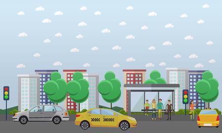 Street traffic concept vector illustration in flat design. Automobiles going across the main street. People waiting for city bus at the bus stop. Woman hailing a taxi. Illustration