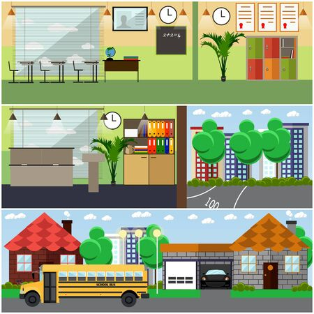 lawn chair: Vector set of school building interior concept design elements in flat style. Classroom at school, university, college with furniture, chalkboard, training appliances. Locker, school bus.