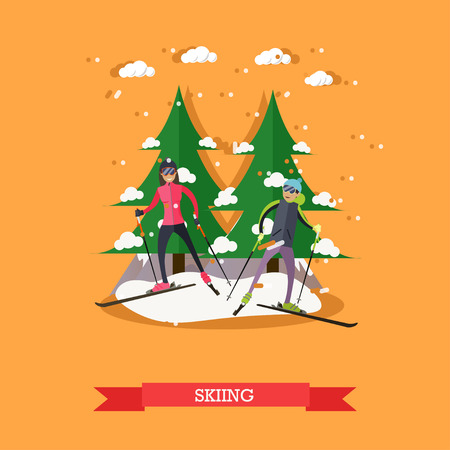 Vector illustration of boy and girl skiing. Skiers, cartoon characters. Winter sports and recreation concept design element in flat style. Illustration