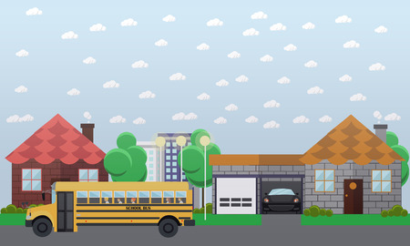 flashers: Vector illustration of school bus going in the street. School transportation concept design element in flat style.