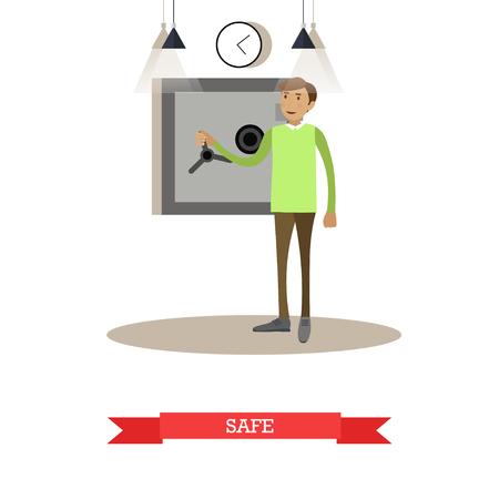 Vector illustration of bank safe. Banking concept design element in flat style Illustration