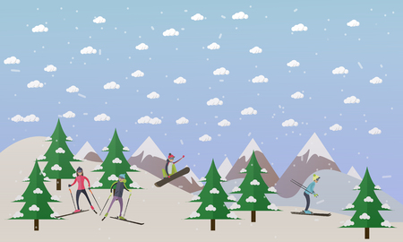 health resort: Vector illustration of ski track and people skiing. Skiers, cartoon characters. Mountain landscape. Winter sports and recreation concept design element in flat style.