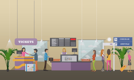 airways: Vector illustration of passengers going through check-in counters at the airport. Ticket counter, baggage check-in, metal detector. Airport terminal concept design element in flat style.
