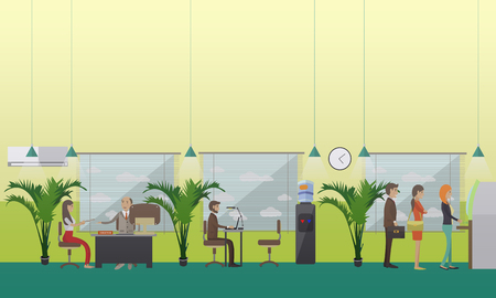 financial consultant: Vector illustration of bank office with manager, financial consultant and clients. People waiting in line for cash money. Banking concept design element in flat style Illustration
