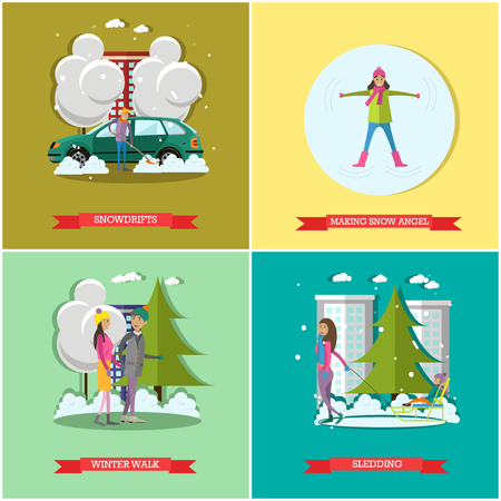 clearing: Vector set of winter time concept posters, banners, flat style