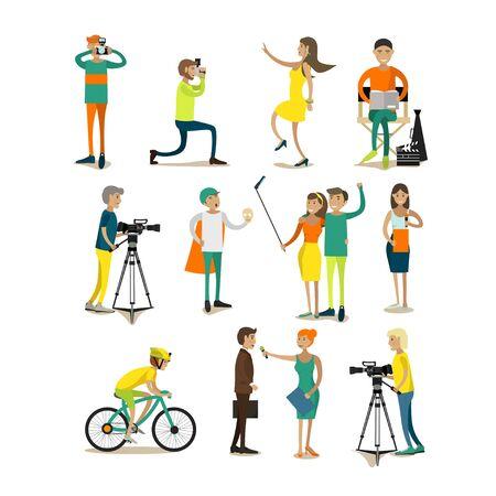 famosos: Vector conjunto de caracteres, foto, elementos de vídeo concepto de diseño, iconos