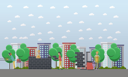 Construction site concept vector illustration in flat style.
