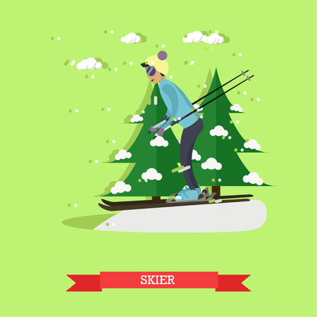 relay: Vector illustration of boy skiing. Skier, cartoon character. Winter sports and recreation concept design element in flat style. Stock Photo