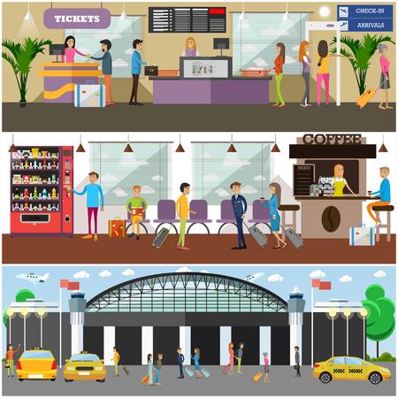 automat: Vector set of airport and passengers concept design elements Illustration