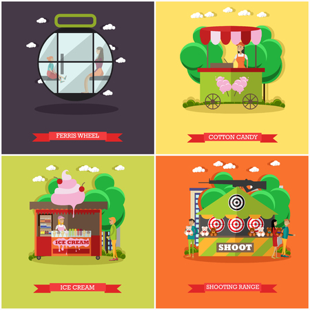 candy floss: Vector set of amusement park concept posters, banners, flat style